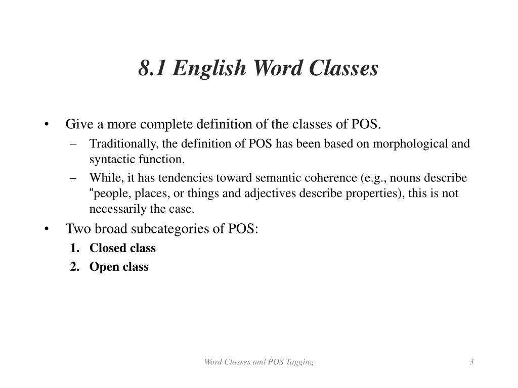 PPT - Chapter 8  Word Classes and Part-of-Speech Tagging PowerPoint