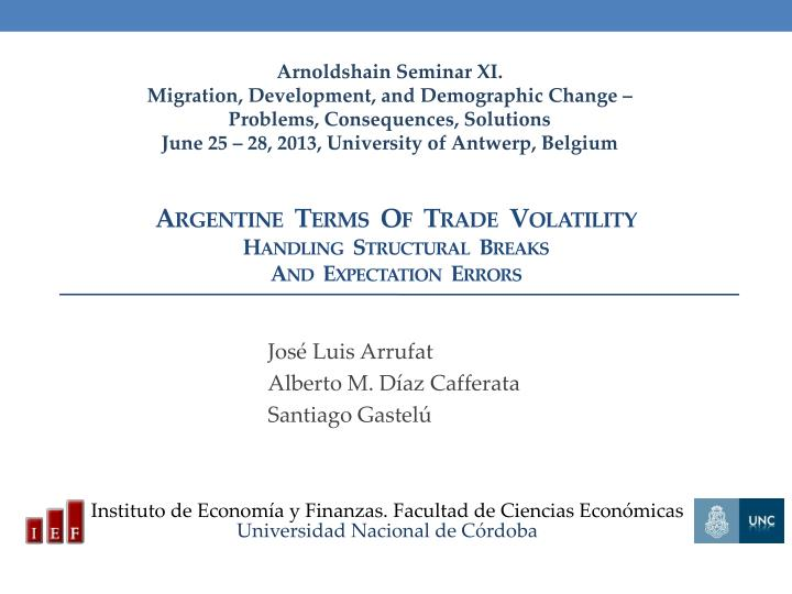 argentine terms of trade volatility handling structural breaks and expectation errors n.
