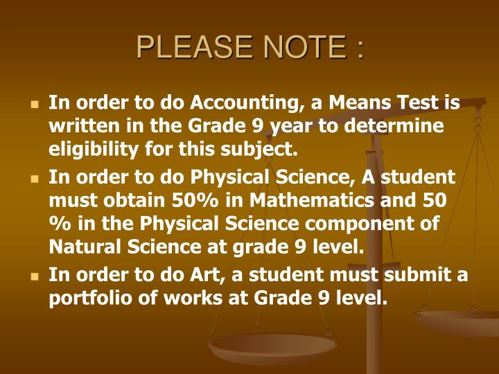 PLEASE NOTE :
