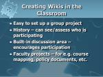creating wikis in the classroom