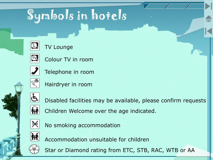 Symbols in hotels