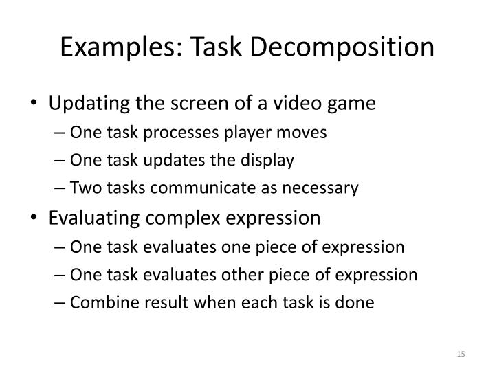 Examples: Task Decomposition