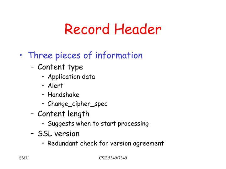 Record Header