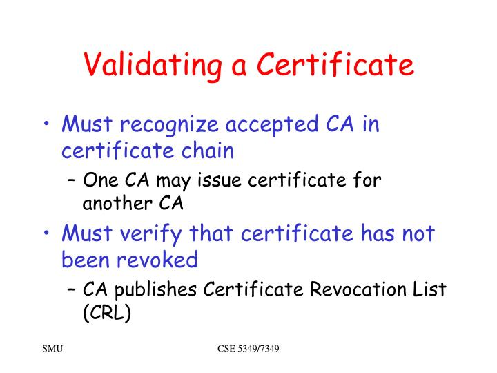Validating a Certificate