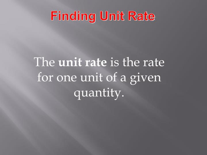 finding unit price