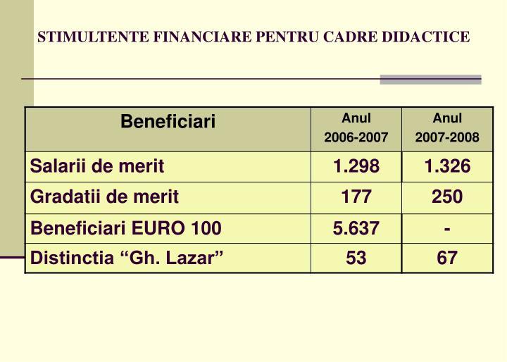 STIMULTENTE FINANCIARE PENTRU