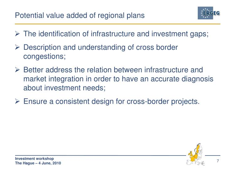 Potential value added of regional plans