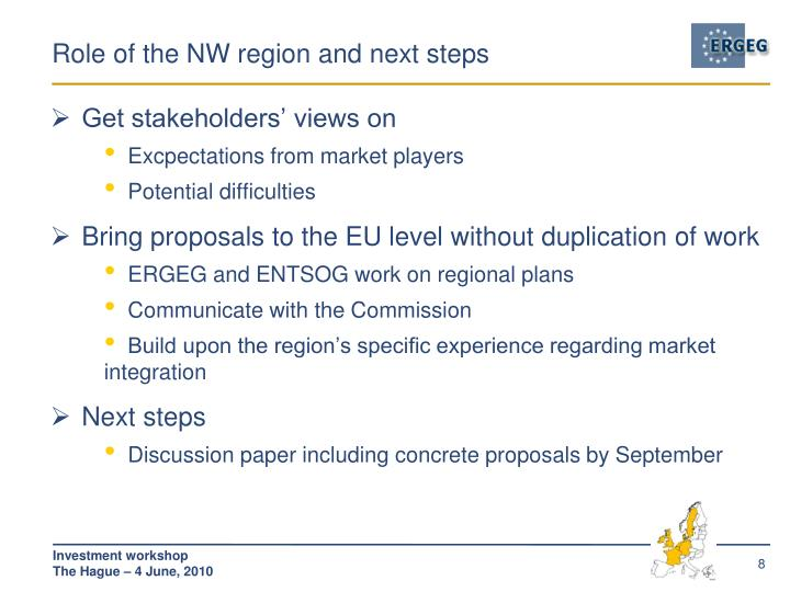 Role of the NW region and next steps