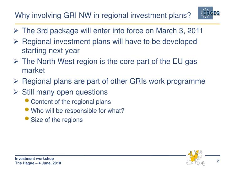 Why involving gri nw in regional investment plans
