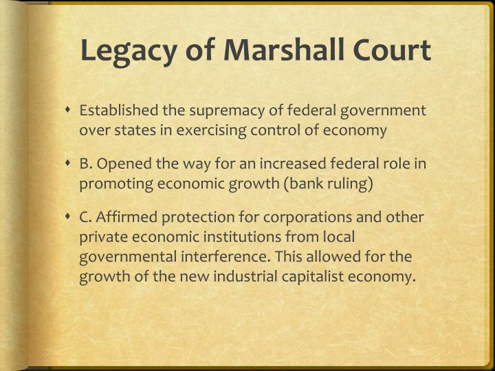 Legacy of Marshall Court