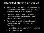 integrated mission continued