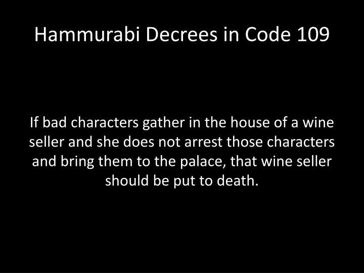 Hammurabi Decrees in Code 109