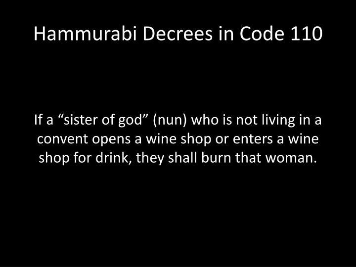 Hammurabi Decrees in Code 110