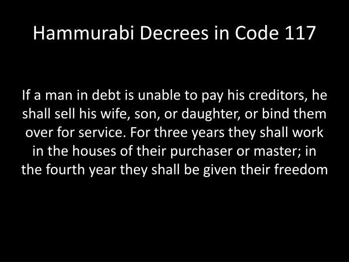 Hammurabi Decrees in Code 117