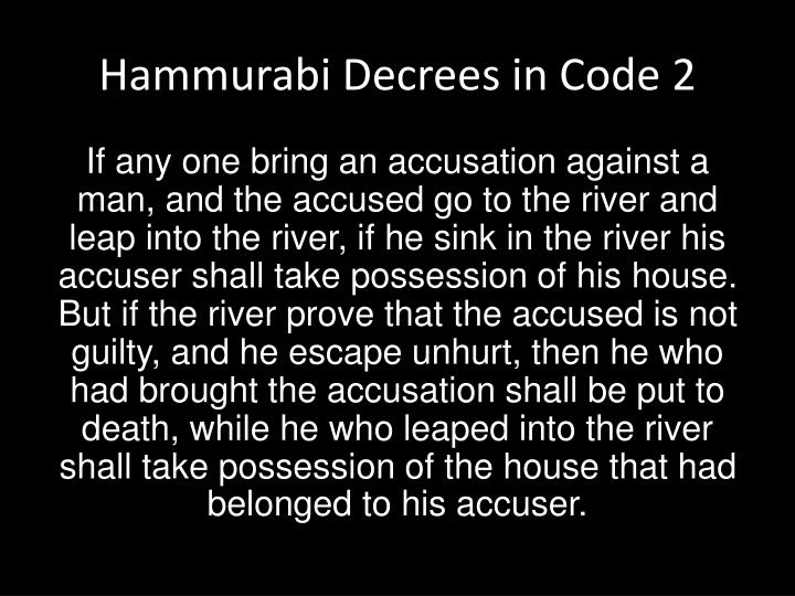 Hammurabi Decrees in Code 2