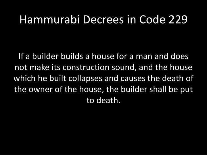 Hammurabi Decrees in Code 229