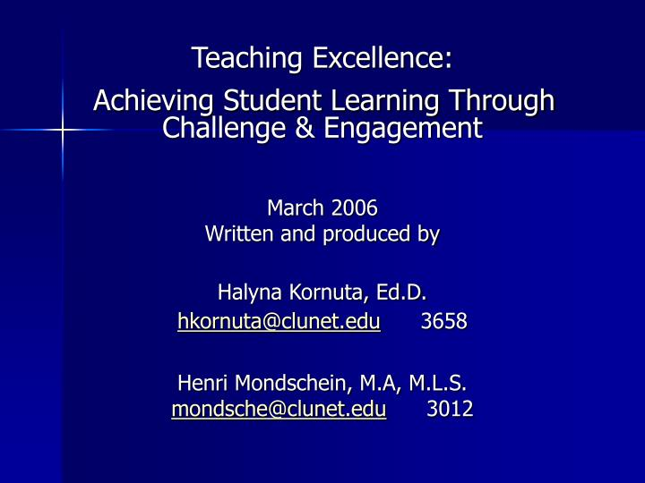 Teaching Excellence: