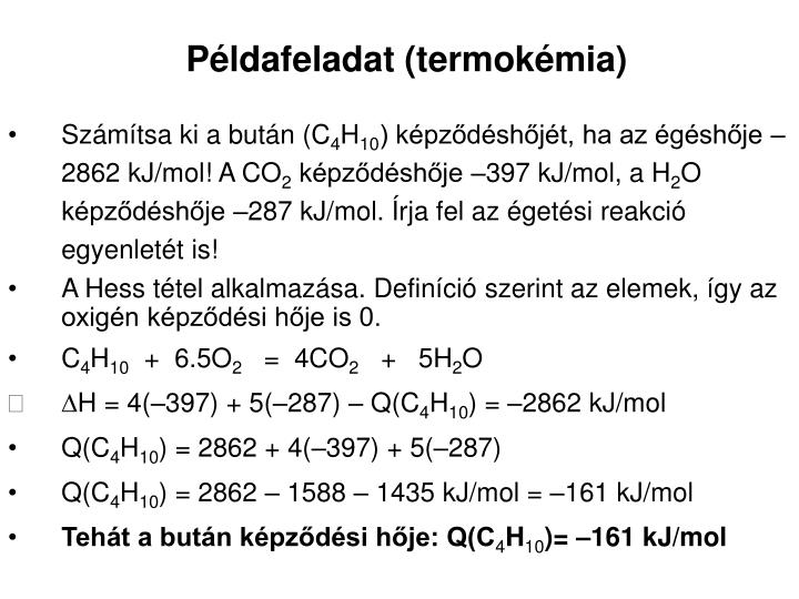 Példafeladat (termokémia)