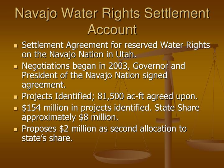 Navajo Water Rights Settlement Account