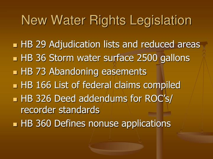 New Water Rights Legislation