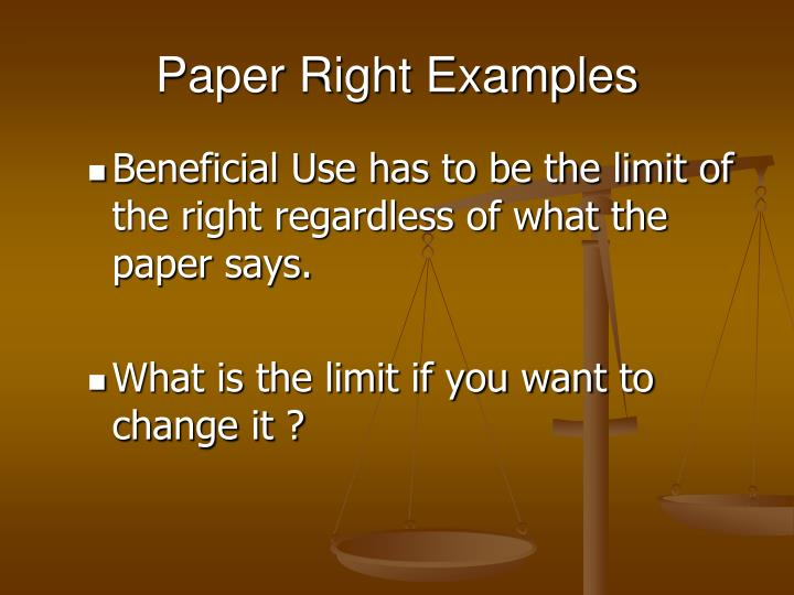 Paper Right Examples