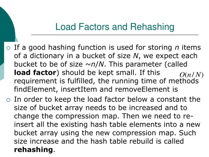 Load Factors and Rehashing