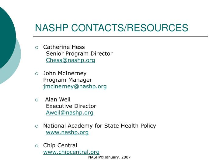 NASHP CONTACTS/RESOURCES