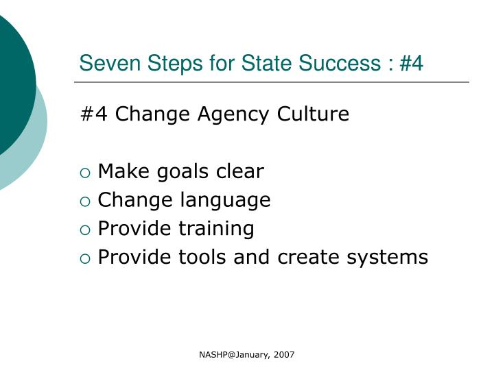 Seven Steps for State Success : #4