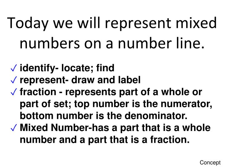 today we will represent mixed numbers on a number line n.
