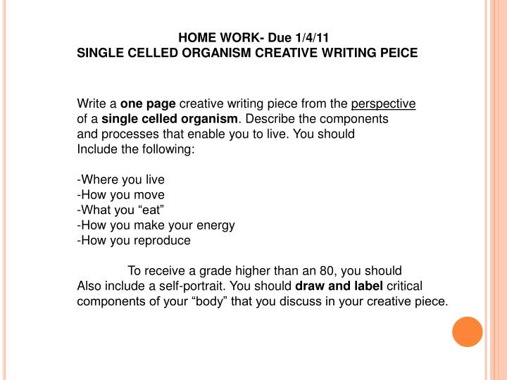 HOME WORK- Due 1/4/11