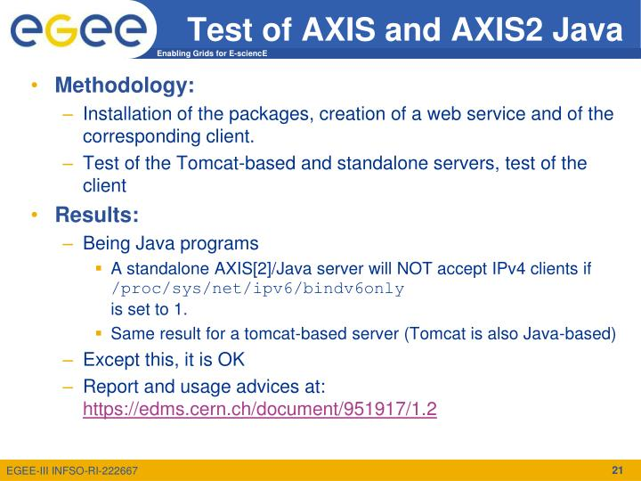 Test of AXIS and AXIS2 Java