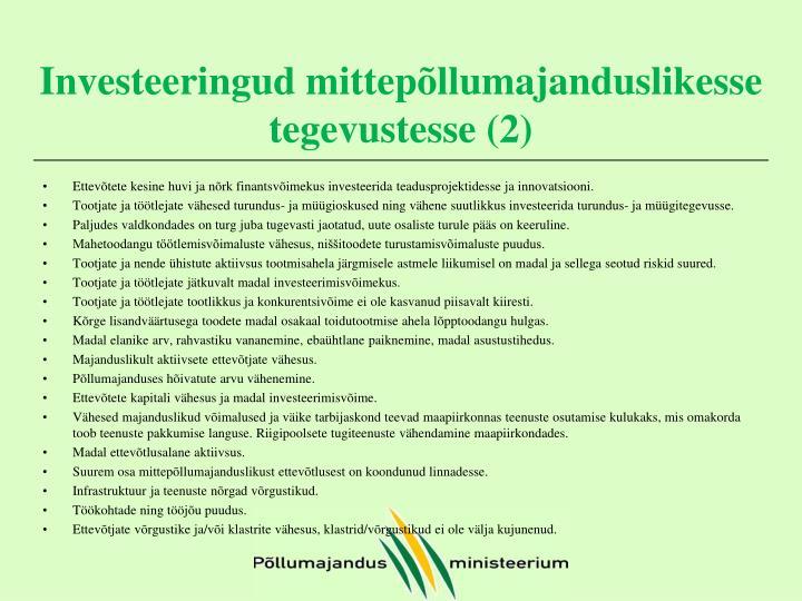 Investeeringud mittepõllumajanduslikesse tegevustesse (2)