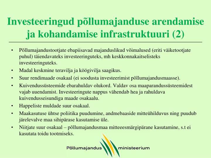 Investeeringud põllumajanduse arendamise ja kohandamise infrastruktuuri (2)