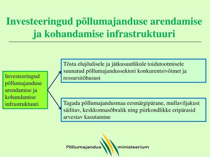 Investeeringud põllumajanduse arendamise ja kohandamise infrastruktuuri