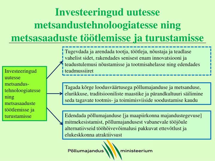 Investeeringud uutesse metsandustehnoloogiatesse ning metsasaaduste töötlemisse ja turustamisse