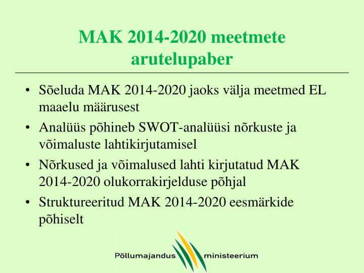 MAK 2014-2020 meetmete arutelupaber