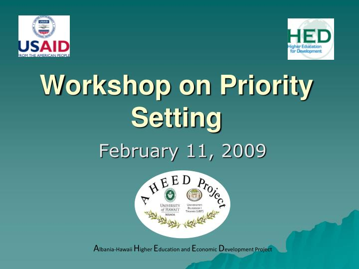 workshop on priority setting n.