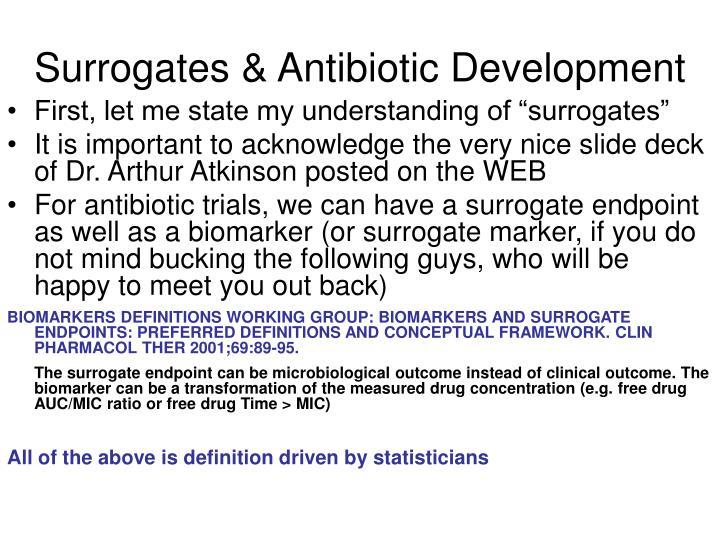 Surrogates antibiotic development