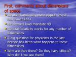 first comments about dimensions of space