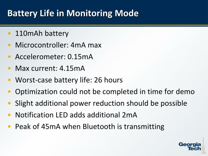 Battery Life in Monitoring Mode