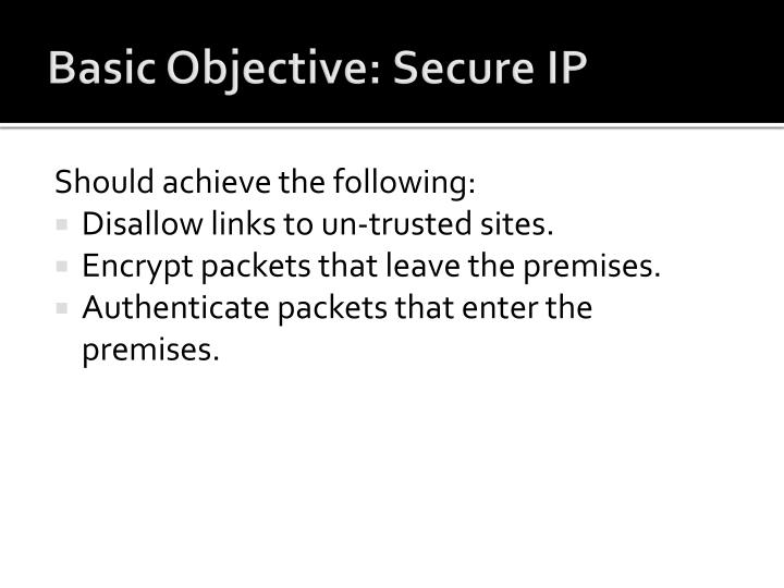 Basic Objective: Secure IP