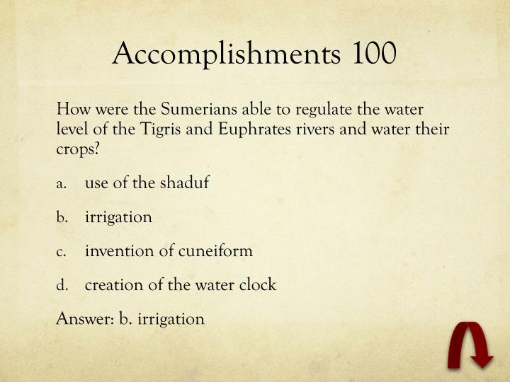 Accomplishments 100