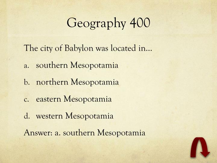 Geography 400
