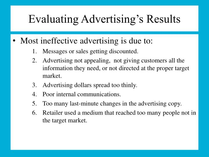 Evaluating Advertising's Results