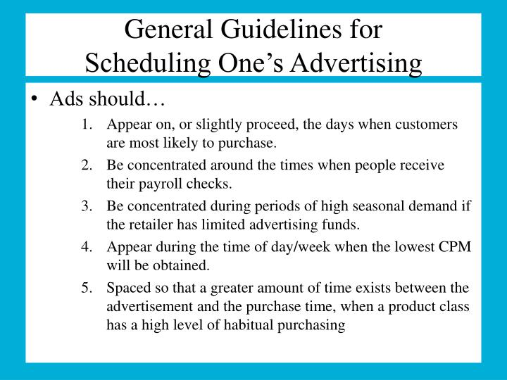 General Guidelines for