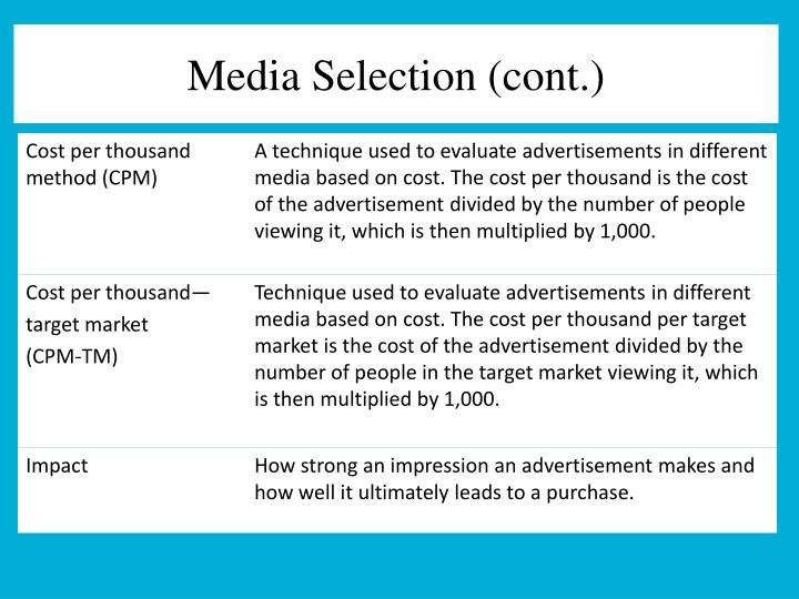 Media Selection (cont.)