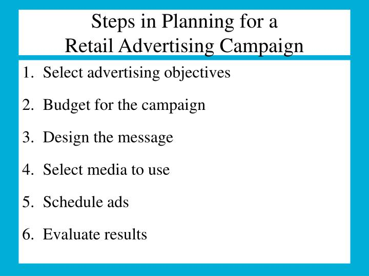 Steps in Planning for a