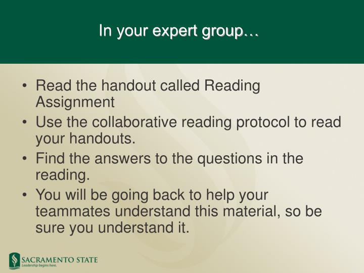 Read the handout called Reading Assignment