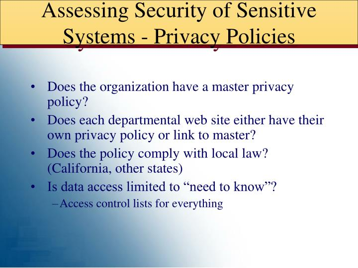 Assessing Security of Sensitive Systems - Privacy Policies