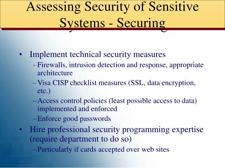 Assessing Security of Sensitive Systems - Securing